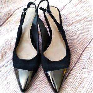 Zara Woman black sueded heels slingbacks sz 37